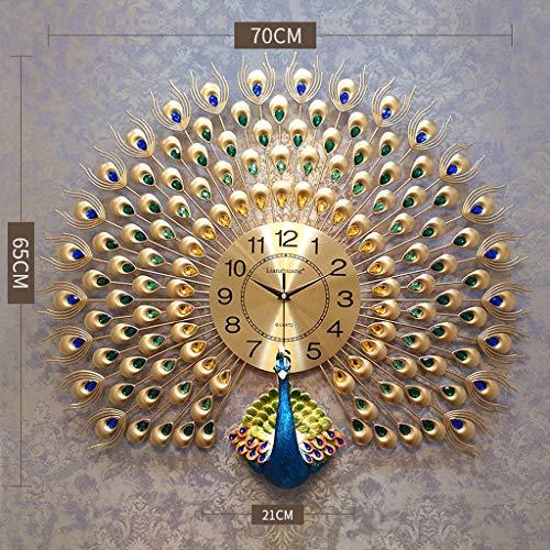 (Quartz Creative Large Wall Clock Modern Luxury 3D Diamond Crystal Quartz Peacock Wall Clocks Home Living Room Decor Large Silent Wall Clock Art Crafts Living Room Mute Wall Watch, Main Picture 2)