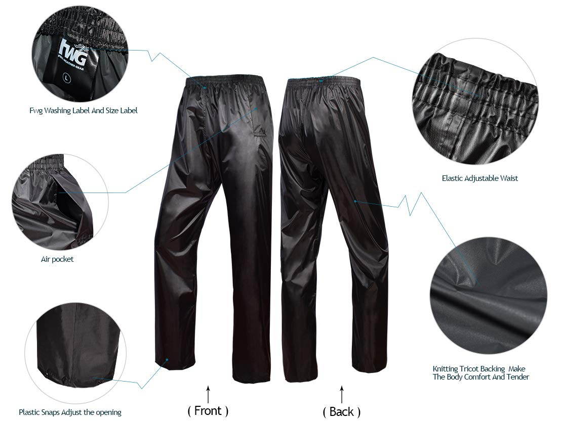 Rain Jacket with Pants for Men Women Waterproof Rain Coat 3-Pieces Ultra-Lite Suits (Large, Black) by FWG (Image #6)