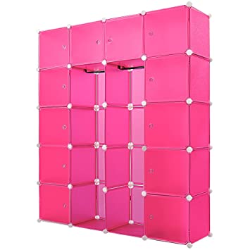 étagère Armoire Plastique Rose Transparent 20 Casiers 1000l Penderie