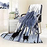 YOYI-HOME Luminous Microfiber Throw Duplex Printed Blanket Moose Gray Forest Design Woods North Wild Animals Deer Hare Elk Trees Lilac Cadet Blue Black Blanket, Soft and Durable Polyester/W59 x H79