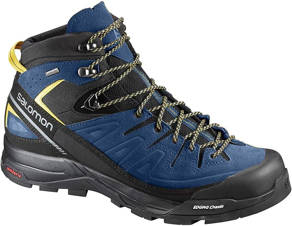 Salomon Men s X Alp Mid Leather GTX Hiking Boots Black Poseidon Sulphur Spring