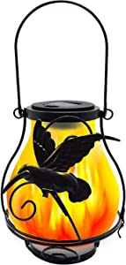 X-PREK 2 Pack Solar Lantern Light for Outdoor Hanging,Solar Flickering Flame Lights with Frosted Glass Lampshade Waterproof Led Landscape Decoration Lighting for Garden Table Patio Decor(Hummingbird)