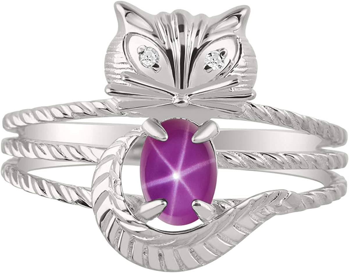 RYLOS CAT Ring with Oval Gemstone /& Genuine Sparkling Diamonds in Sterling Silver .925-7X5MM Color Stone