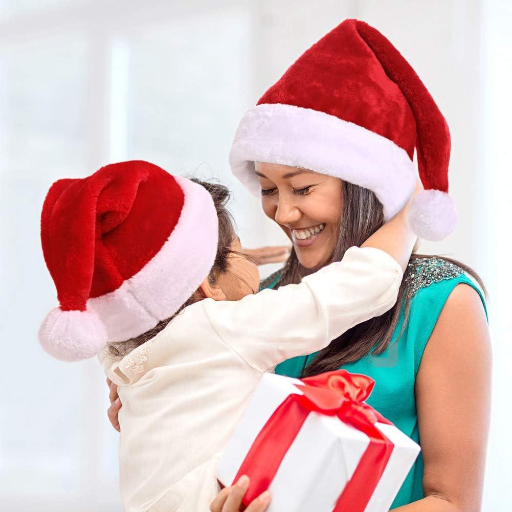 Kurze Plüsch-Weihnachtsmütze super dichter Samt spskdian Weihnachtsmütze