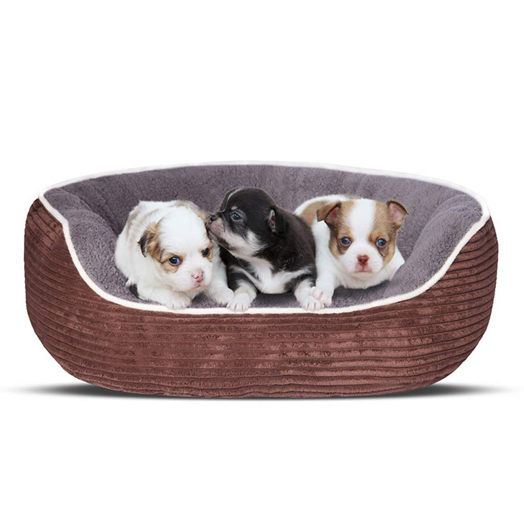 Brown Large Brown Large Corduroy Soft Dog Bed, Washable Pet Sleepping Bed Sofa Kennel Nest Warmer Cushion Pet House for Small Medium Dogs and Cats,Brown,L