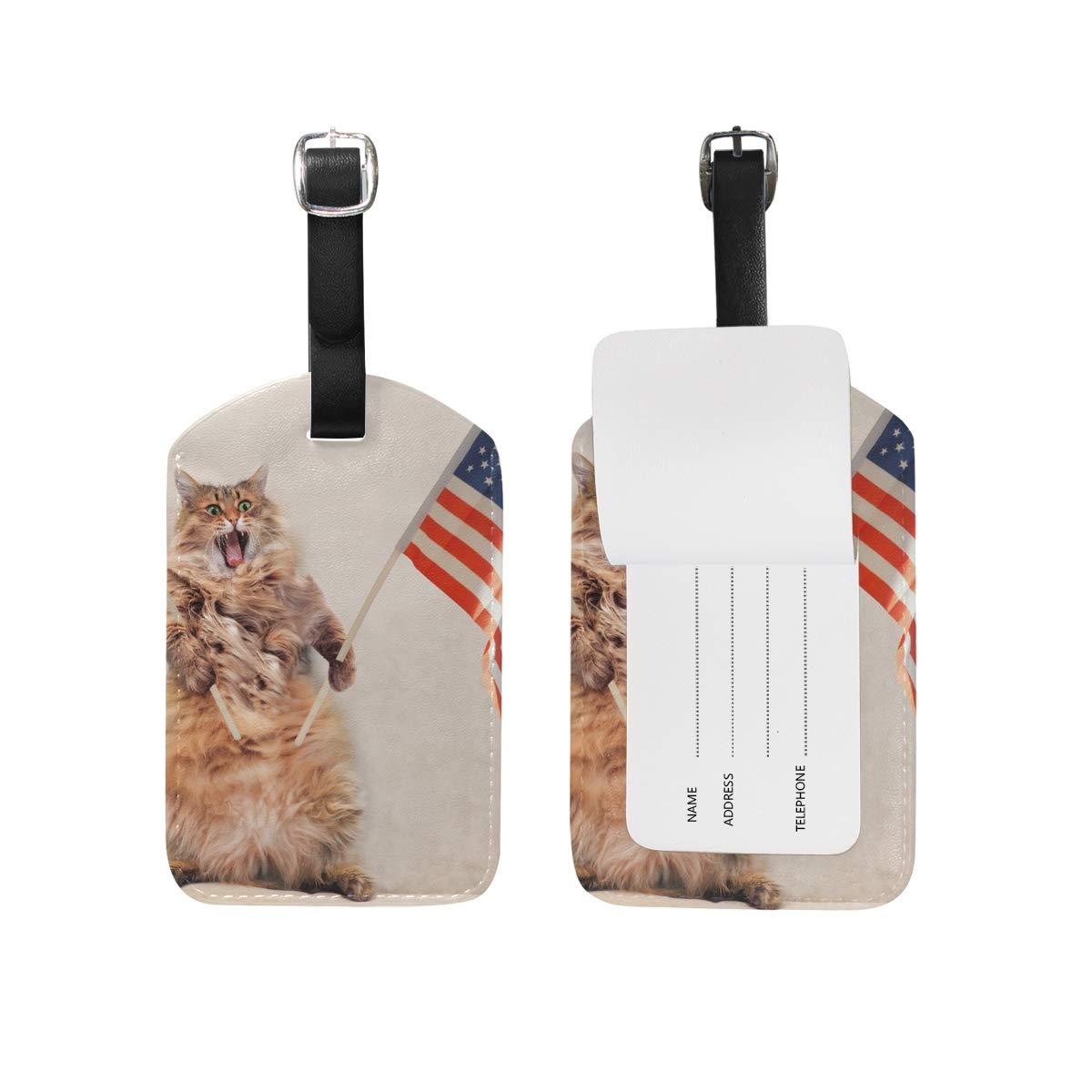1Pcs Travel Luggage Tag Big Shaggy Cat PU Leather Baggage Suitcase Travel ID Bag Tag