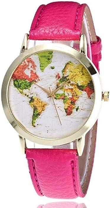 Mapa de Mujer Relojes Liquidación Relojes analógicos Femeninos a la Venta Relojes de Pulsera Relojes de Cuero para Dama