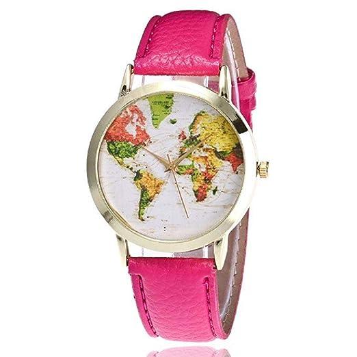 Mapa de Mujer Relojes Liquidación Relojes analógicos Femeninos a la Venta Relojes de Pulsera Relojes de Cuero para Dama (Al Rojo Vivo): Amazon.es: Relojes