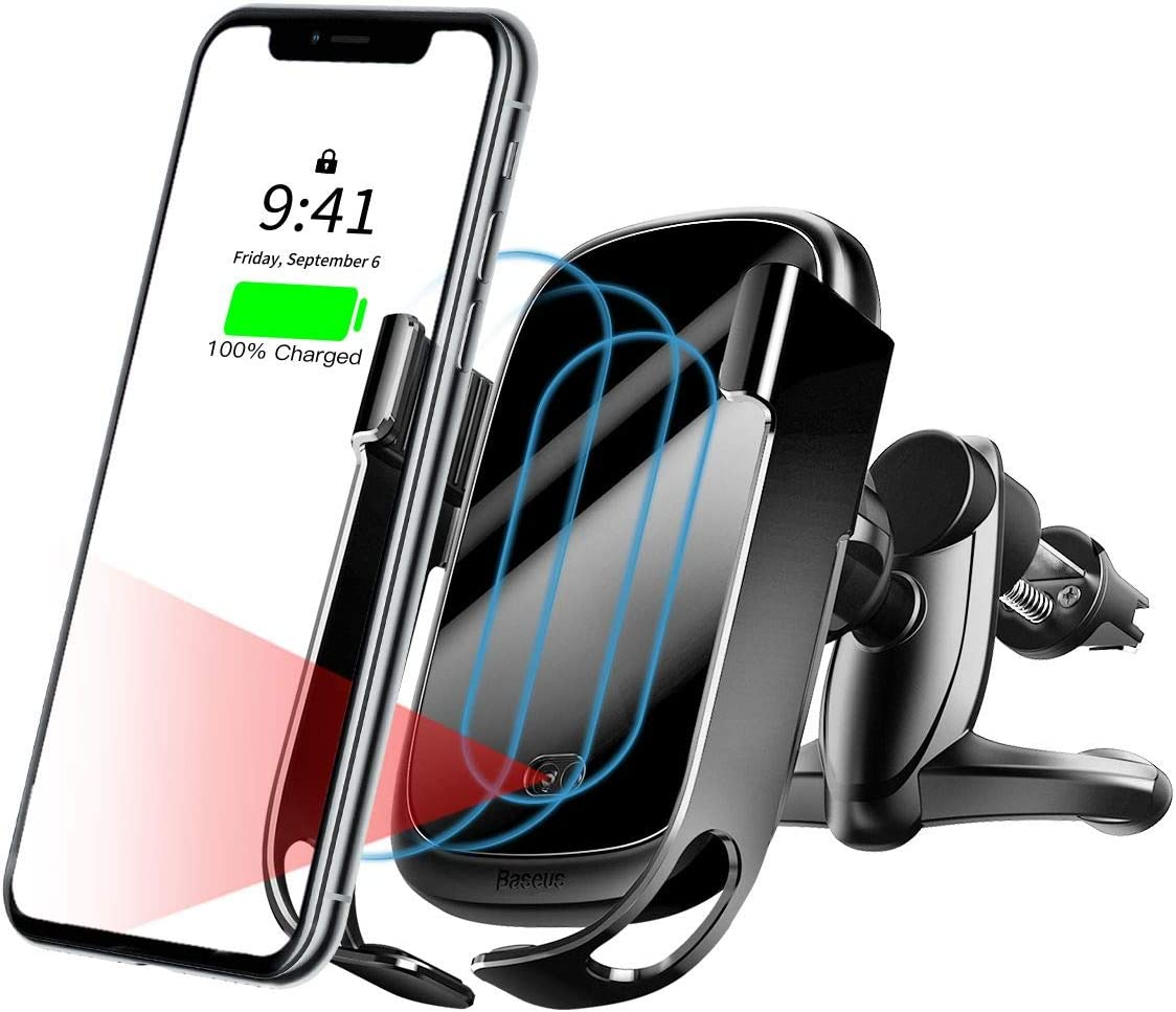 Color : Black Jiabei Suitable for Mobile Phone Wireless Charger Car Gravity Sensor Bracket Mobile Phone Wireless Charging Fast 10W Car