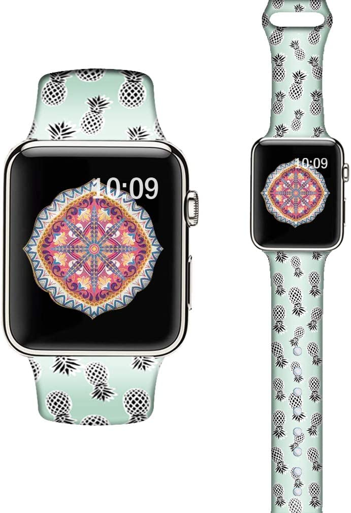 LAACO Silicone Sport Bands Compatible with Apple Watch 40mm for Women, Floral Sport Band, Black Pineapple Fadeless Pattern Printed Replacement Strap Bands Compatible with iWatch 38mm Series 5 4 3 2 1