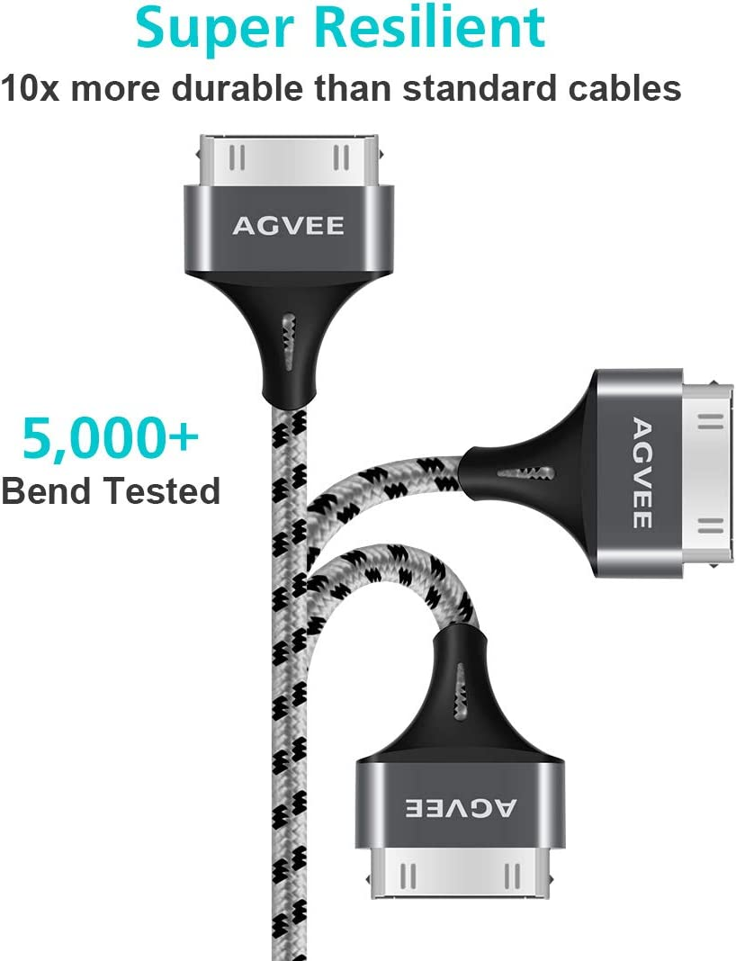 Gray iPod Nano Agvee Nylon Braided Fast 3 Pack 3ft 6ft 10ft Heavy Duty USB A to 30 Pin Sync /& Charging Cable Slim Metal Shell End Case Friendly Charger Cord for iPhone 4//4S iPad 1//2//3