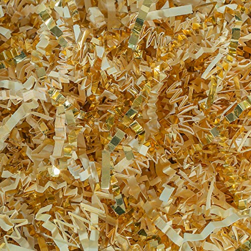 Crinkle Cut Paper Shred Filler (1/2 LB) for Gift Wrapping & Basket Filling - Vanilla & Gold | MagicWater Supply