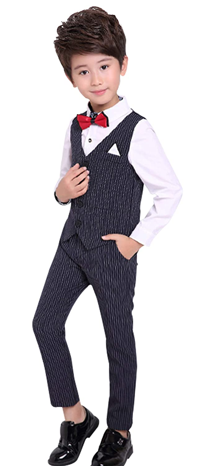 luobobeibei Boys Suits 3 Pieces Slim Fit Fashion Formal Dress Wedding Party Kids Suit