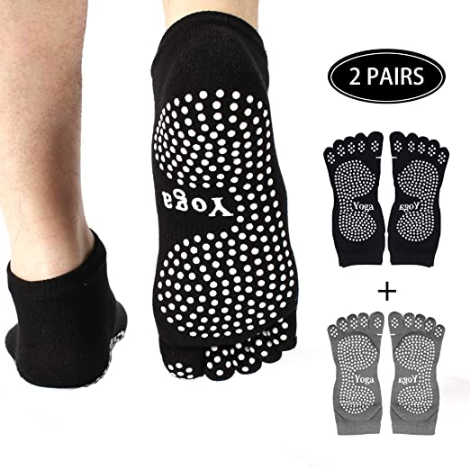 Pseudois Pack of 2 Non Slip Skid Yoga Pilates Socks Five Toe Separator Socks with Grips Cotton for Women Multi Pack