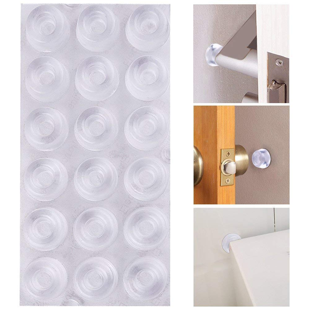 AUSTOR 18 Pack Clear Door Knob Bumpers Self-Adhesive Door Stopper Bumpers Wall Protectors Rubber Feet for Furniture, Crafts, Glass, Electronics, Electrical Appliances