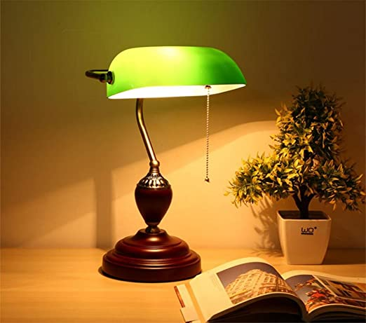 GZD Emerald Green Glass Table Light Power Bank Desk Lamp Office Red Wood  Lampe Vintage Reading
