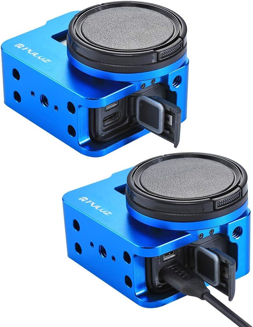 aus CNC-gefr/äster Aluminium-Legierung mit R/ückabdeckung und 52/mm gro/ßem UV-Filter Schwarz // Blau PULUZ Schutzh/ülle//Rahmen f/ür GoPro HERO5 // HERO6