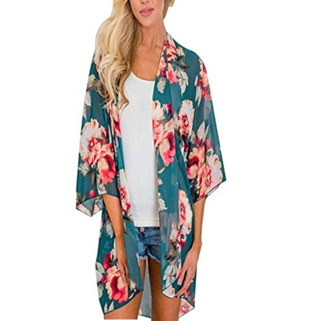Chiffon Cardigan, Flower Print Open Front Shawl Kimono Coat Jackets Cover up Blouse Tops(Green,L2)