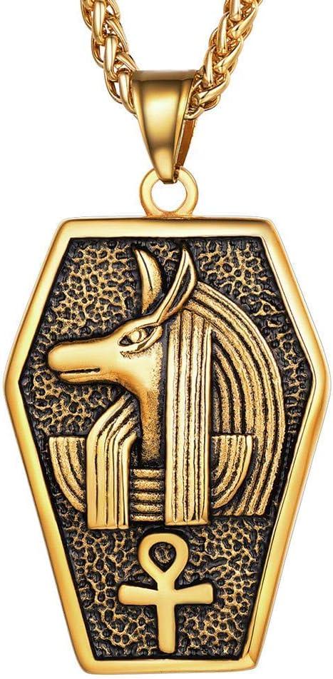 LKITYGF Elegante Anubis Ankh Key of Life Charm Steel Steel Heroglyph Egipto Gody of The Underworld Cross Colgante Collar para Hombres