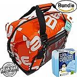 Polar Bear Coolers H2O Waterproof Cooler (Size 24 Pack) Tangerine & Fit & Fresh Cool Coolers Slim Ice 4-Pack (Bundle)