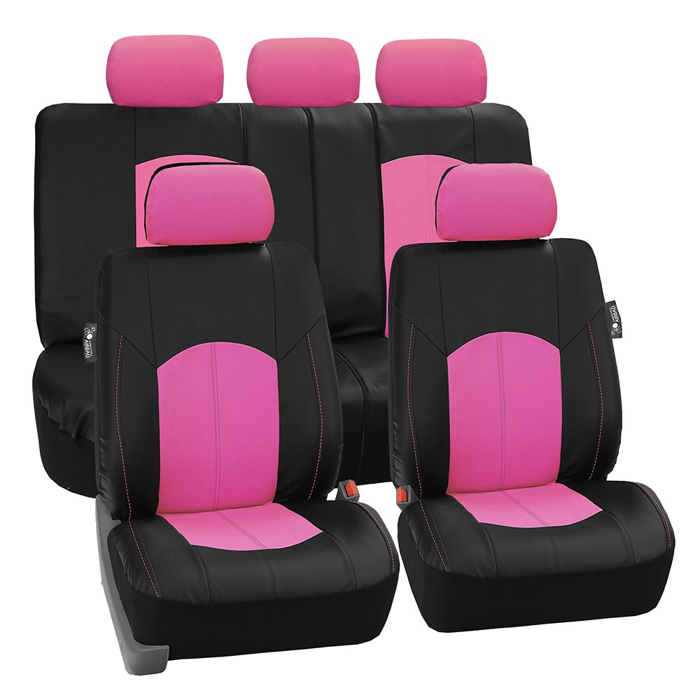 Amazon FH PU008115 Perforated Leatherette Full Set Car Seat Covers Airbag Split Ready Pink Black Color