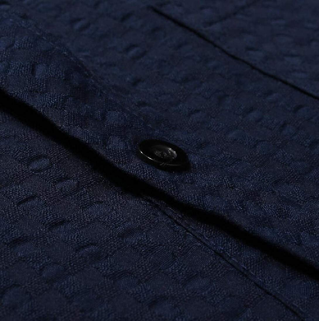 Fenshuda Mens Short Sleeve Causal Fold-Collar Plaid Button-Down Shirt