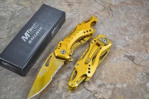 MTECH USA M Tech Tactical Folding Knife Gold Titanium Coating Half Serrated Stainless Steel Blade Knife