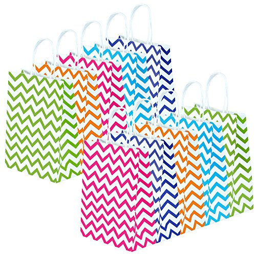 Coobey 20 Pieces Paper Party Bags Gift Bag Kraft Bag with Ha