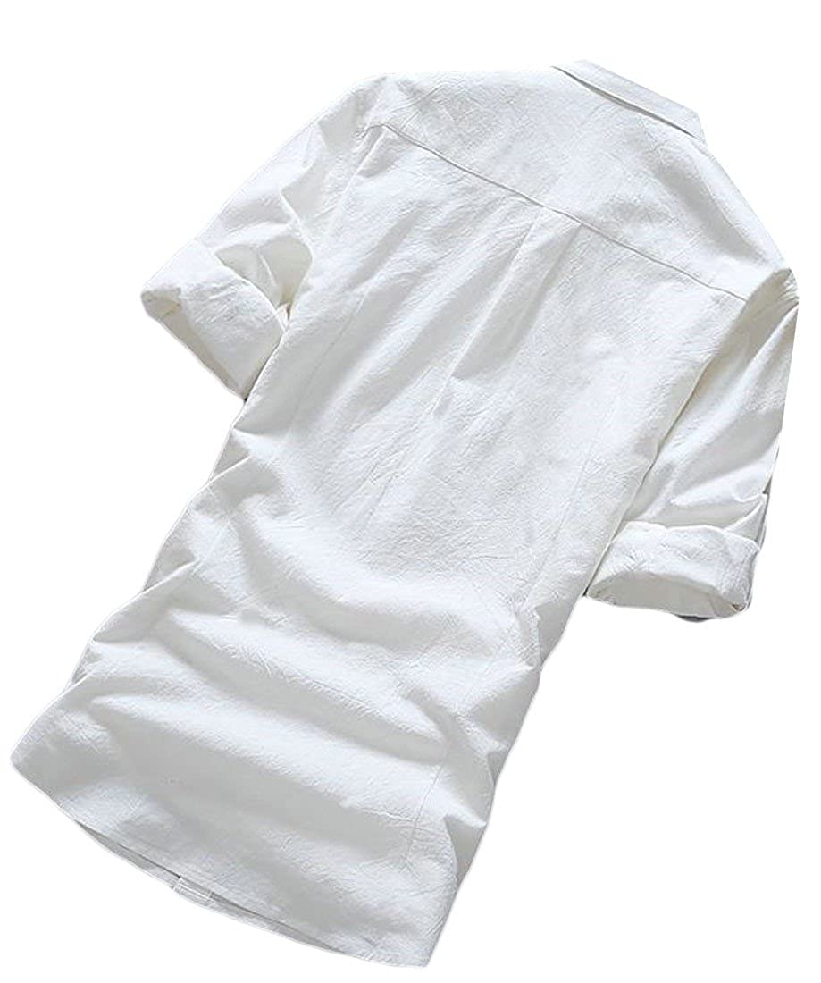 Bigbarry Men Casual Cotton 3//4 Sleeve Solid Summer Roll up Sleeve Button up Shirts