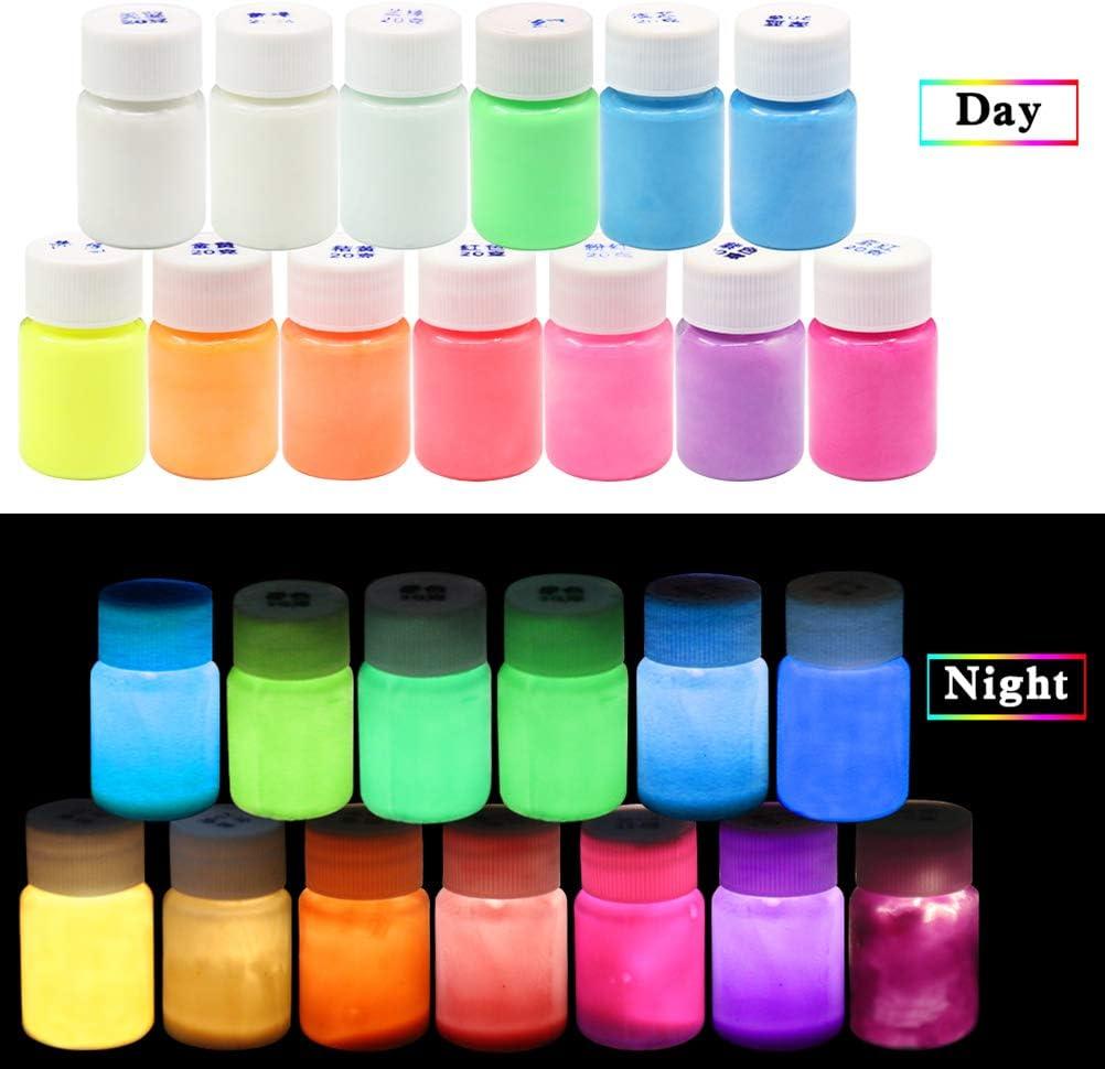 ATATMOUNT 12 Color Luminous Resin Pigment Kit Im Dunkeln leuchten Pulverpigment Farbstoff Farbstoff Fluoreszierende Harz Schmuckherstellung Werkzeuge
