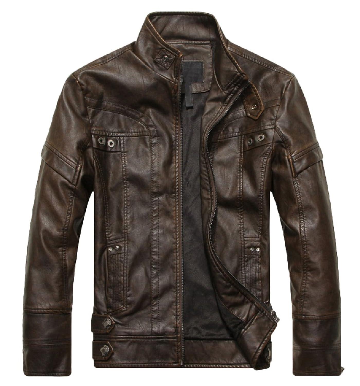 iKneu Men's Vintage Stand Collar PU-Leather Moto Coats Jacket