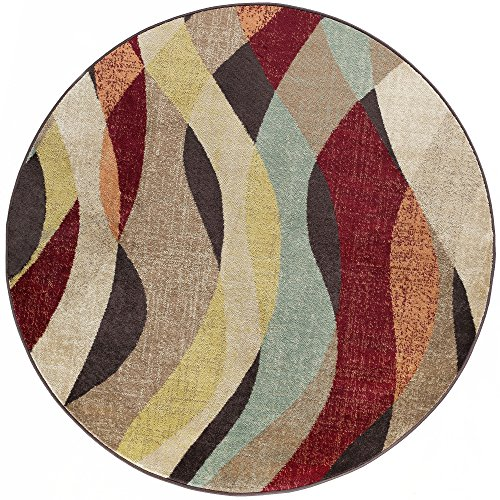 Willow Transitional Abstract Brown Round Area Rug, 8' Round