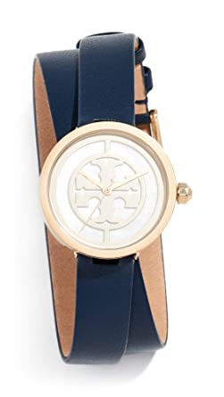 0ad14b767 Amazon.com: Tory Burch Women's Reva Leather Watch, 28mm, Navy, Blue ...