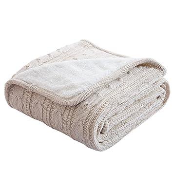 Nibesser Kuscheldecke Baby Strickdecke Tagesdecke Wolle Mit Zopfmuster Alle  Jahreszeiten Für Sofa Wohnzimmer Bett Zimmer Sofa