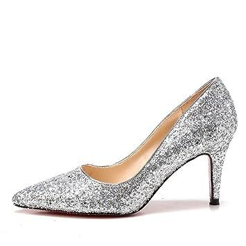 MUYII Frauen Cinderella Kristall High Heels Braut Hochzeit Schuhe Feine Stiletto Glitter SandalenSilver-75CM-33