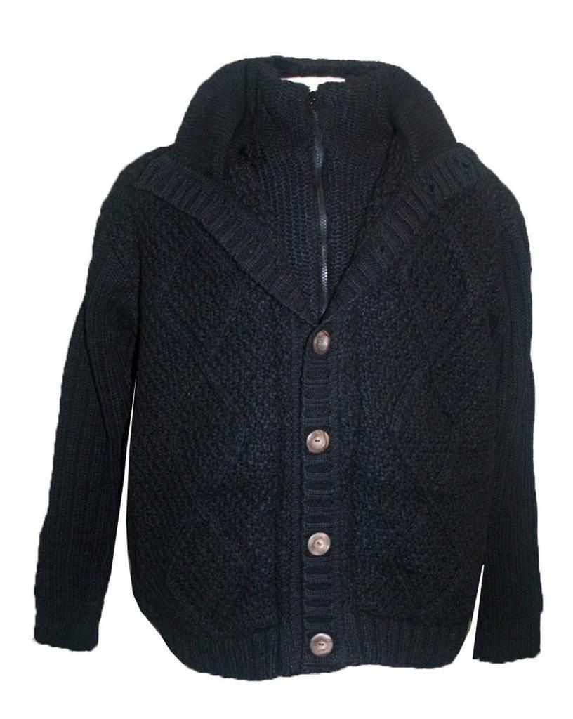 DD Unisex Lamb Wool Sherpa Cardigan Sweater (Black, X-Large)