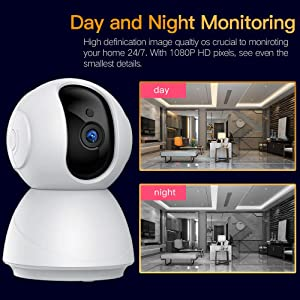 1080P HD Home Security IP WiFi Dome Camera, SDETER Wireless 2-Way Audio Motion Detection Night Vision Baby/Pet Monitor Compatible with iOS&Android