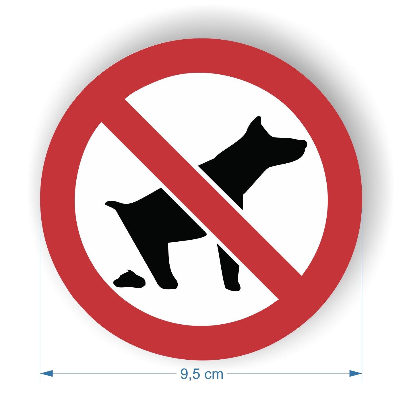 6 unidades 95 mm Pegatinas de perro prohibido Panel de excremento
