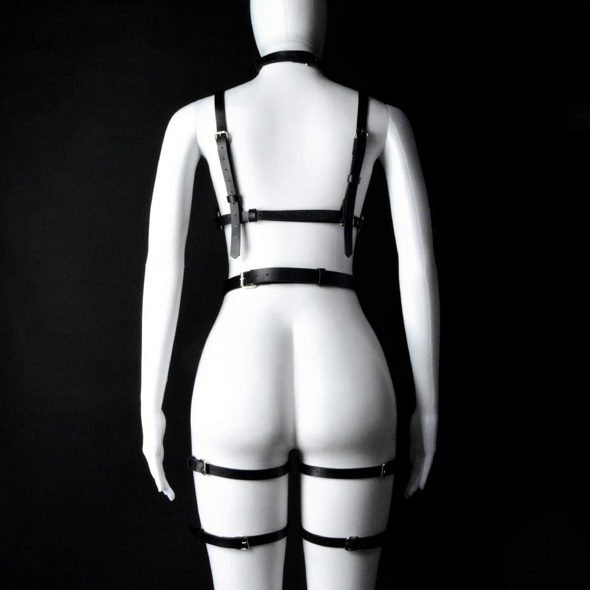 sigando Imbracatura per Il Corpo in Pelle Punk da Donna Harness Cinghie in Vita Giarrettiera in Gabbia per Gambe
