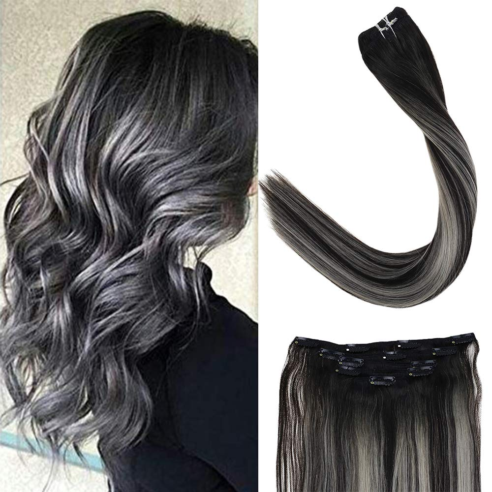 LaaVoo Remy Balayage Clip in Human Hair 22'' 1b/silver/1b Color Off Black Mixed Silver Straight Silky Soft Clip In Hair For Women 5pcs 70g Per Package (#1b/silver/1b) by LaaVoo