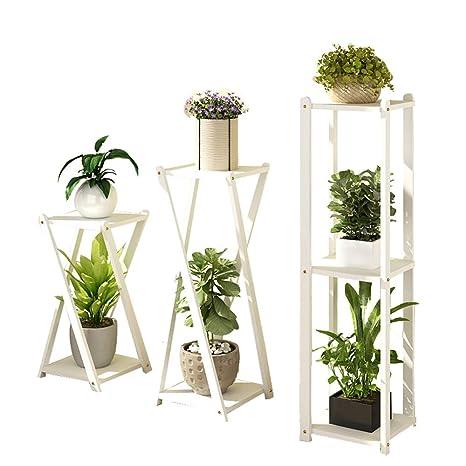 3 piezas de madera maciza soporte de plantas de múltiples ...