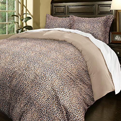 Blue Ridge Home Fashions, Inc. Microfiber Oversize King in Leopard Color Duvet Cover Set,