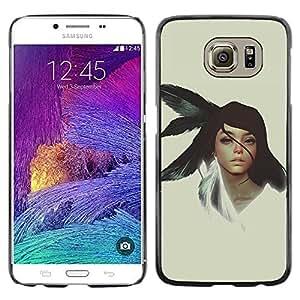Caucho caso de Shell duro de la cubierta de accesorios de protección BY RAYDREAMMM - Samsung Galaxy S6 - Chica nativo americano