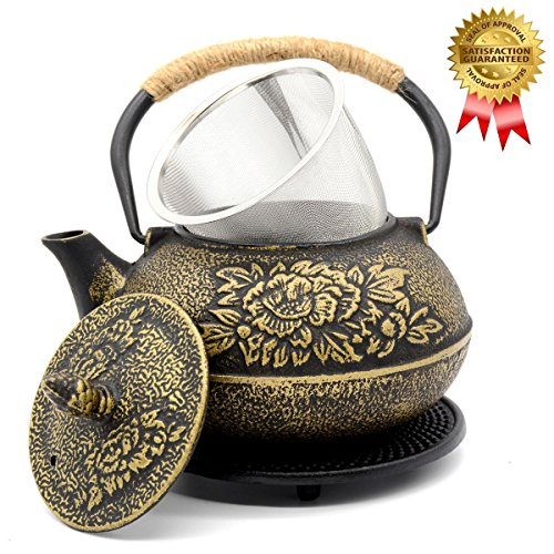 OMyTea Cast Iron Teapot with Infuser and Trivet, Japanese Tetsubin Tea Kettle, Golden Peony Pattern, 31oz / 900ml (Peony Pattern)