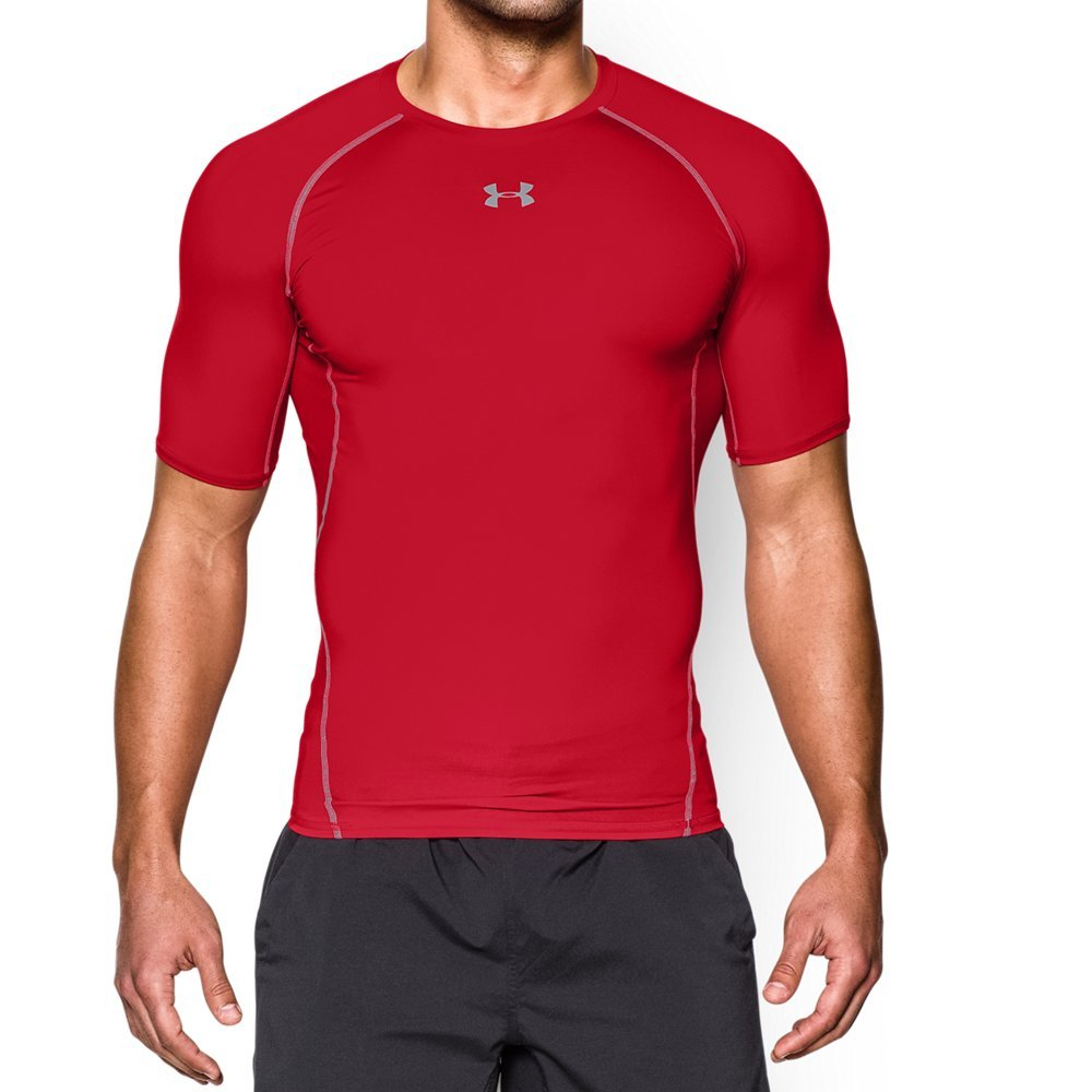 Under Armour mens HeatGear Armour Short Sleeve Compression T-Shirt, Red (600)/Steel, Small
