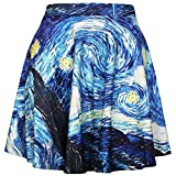 QZUnique Women's Starry Sky Printed Vintage Digital Pleated Flared Midi Skirt