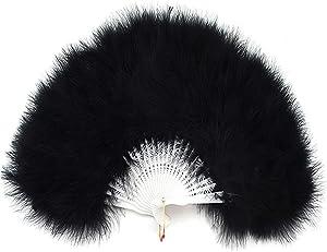 Sowder Black Marabou Feather Fan 20s Vintage Style for Home Party Decor Dance Show Clothes Wedding Decoration