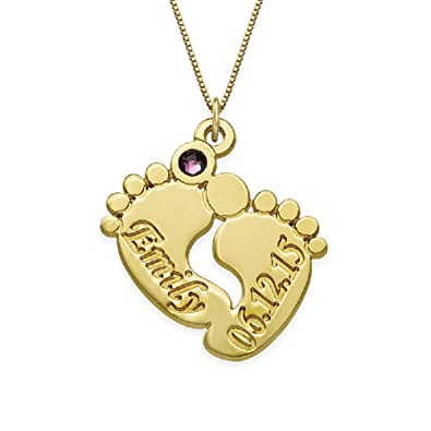 Mother Jewellery - Engraved Baby Feet Pendant Necklace with Personalised Birthstone - Custom Made with Any Name! kOz3H