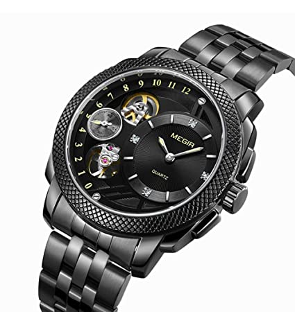 SW Watches MEGIR Relojes De Negocios Reloj para Hombre Gear Gear Dial Decorativo Acero Inoxidable Reloj De Pulsera Resistente Al Agua De Cuarzo Masculino: ...
