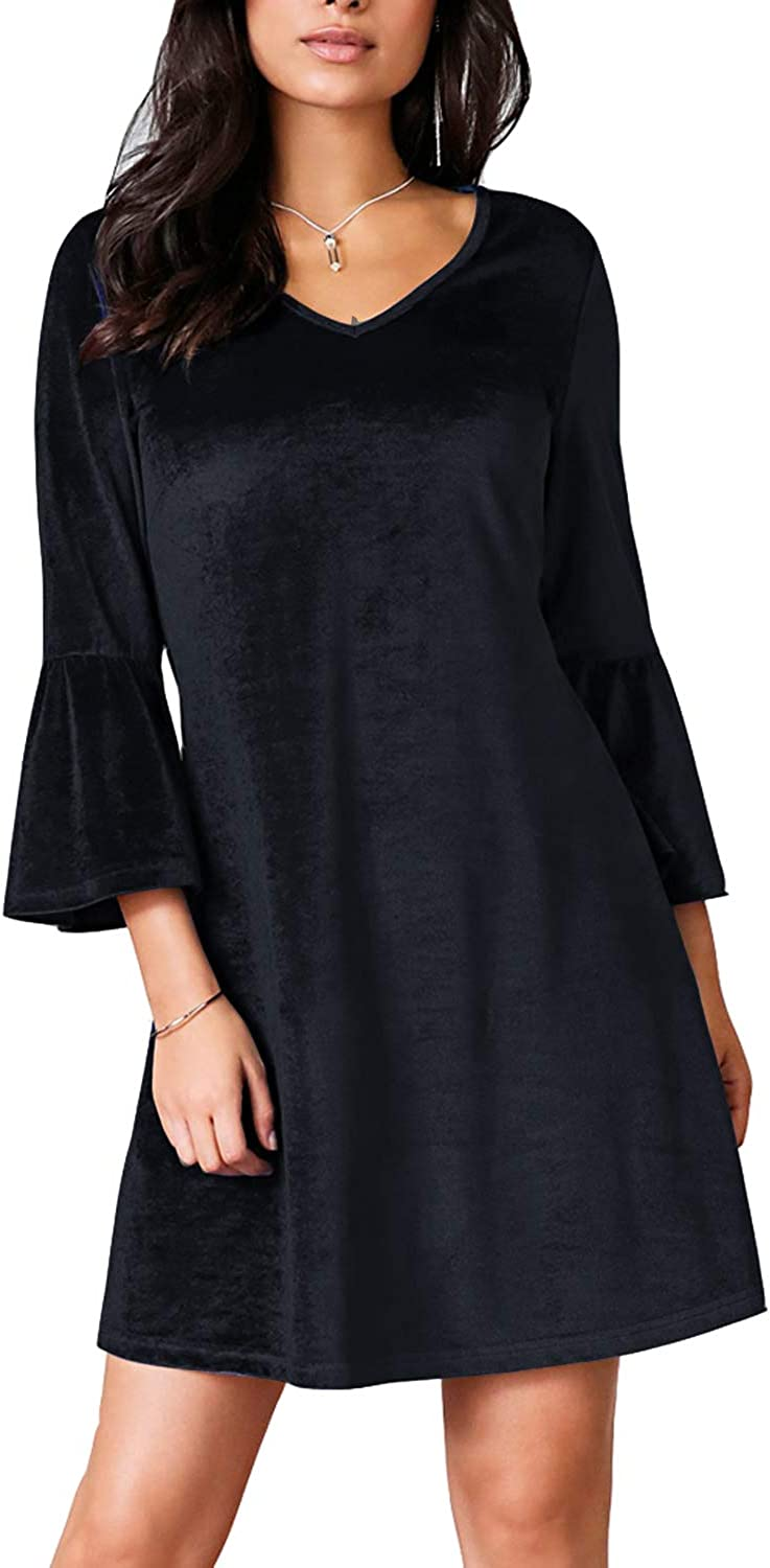REPHYLLIS Women's 3/4 Sleeve Eleagnt Shift Tunic Swing Casual Cocktail Party Dress